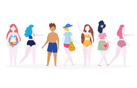 group of people in swimsuits cartoon characters vector illustration Ilustração