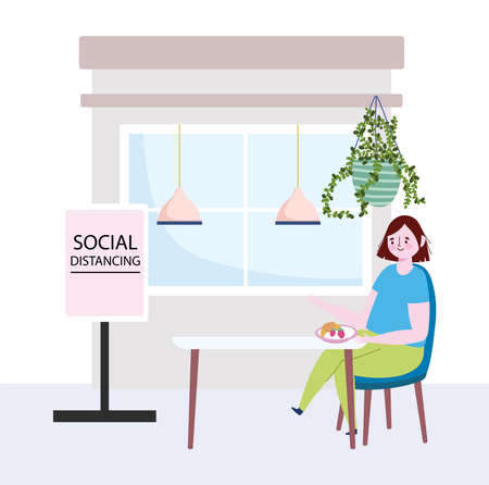 restaurant social distancing, woman sitting at table with fruits, keep a safe distance, prevention covid 19 coronavirus vector illustration