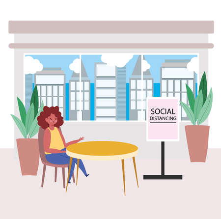 restaurant social distancing, woman sit a distance food shop, prevention covid 19 coronavirus vector illustration Ilustração