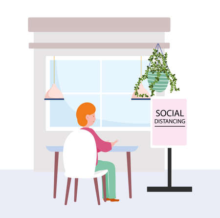 restaurant social distancing, man sitting keep a safe distance, covid 19 coronavirus infection vector illustration Ilustração