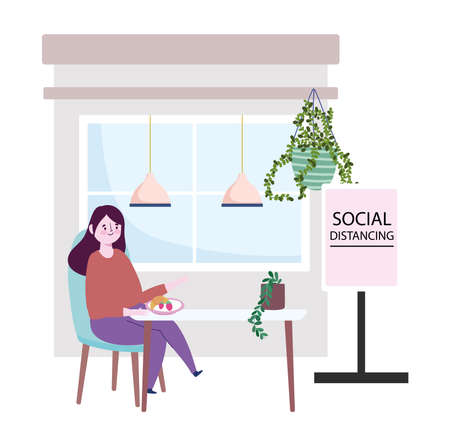 restaurant social distancing, woman eating fruits in table, prevention covid 19 coronavirus vector illustration Ilustração