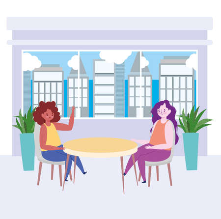 restaurant social distancing, two women talking in new normal, covid 19 coronavirus vector illustration