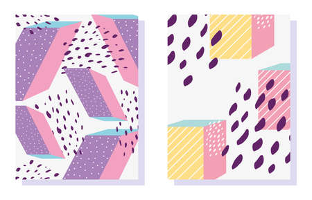memphis geometric shapes patterns in trendy fashion 80-90s vector illustration