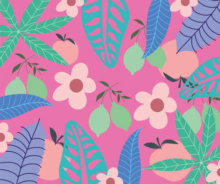 tropical leaves trendy fruits flowers exotic foliage pink background vector illustration