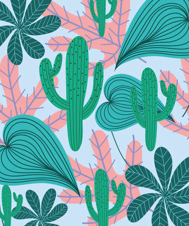 tropical leaves cactus foliage nature exotic background vector illustration