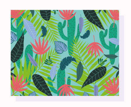tropical leaves texture exotic cactus branch foliage background vector illustration