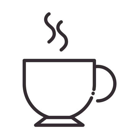 coffee cup aroma hot beverage line style icon vector illustration