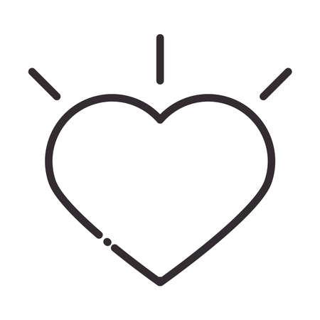 social media heart like digital internet network communicate technology line style icon vector illustration