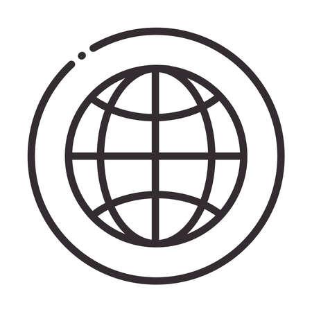 social media global world digital internet network communicate technology line style icon vector illustration