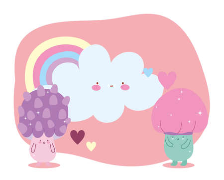 little magic mushrooms rainbow cloud hearts tale cartoon vector illustration  イラスト・ベクター素材