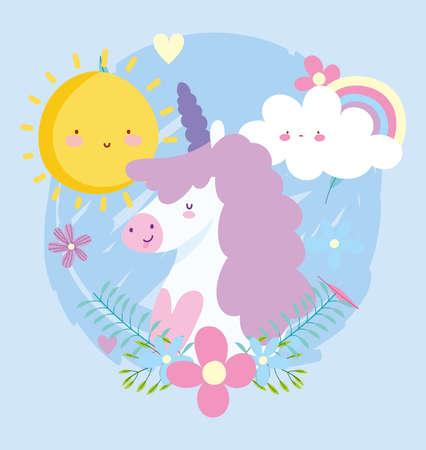 little unicorn rainbow flowers sun cloud fantasy magic animal cartoon vector illustration Ilustración de vector