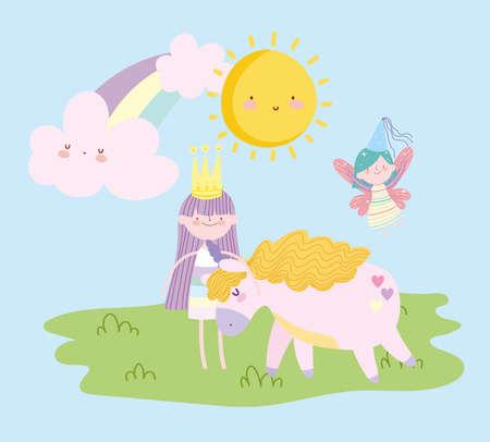 cute flying fairy princess girl unicorn rainbow tale cartoon vector illustration Vector Illustration