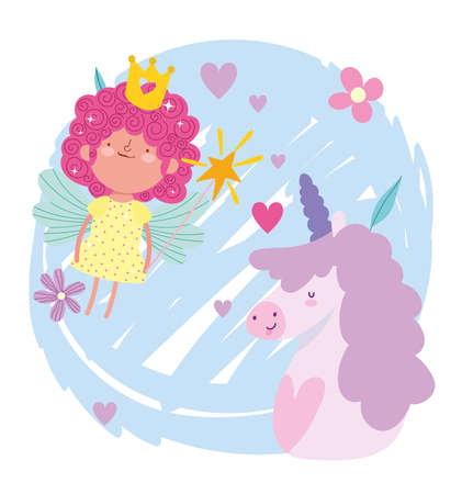 little fairy princess with magic wand and unicorn tale cartoon vector illustration