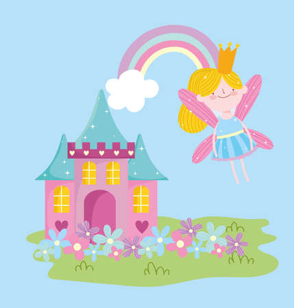 flying winged little fairy princess rainbow and castle with flowers tale cartoon vector illustration  イラスト・ベクター素材