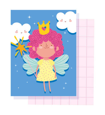 little fairy princess with crown magic wand and wings tale cartoon vector illustration  イラスト・ベクター素材