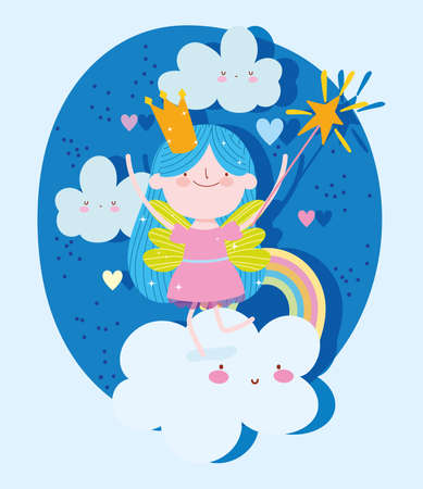 little fairy princess tale cartoon fantasy magic wand on clouds rainbow vector illustration  イラスト・ベクター素材