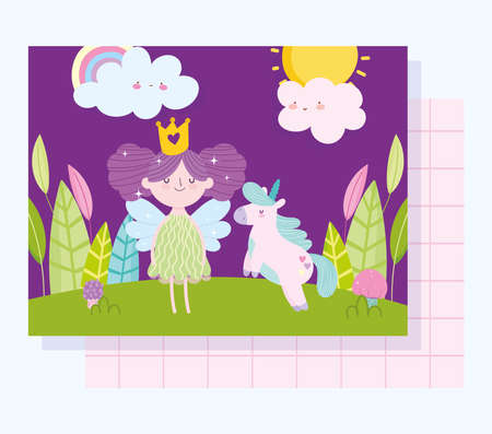 little fairy princess with unicorn tale cartoon clouds forest vector illustration