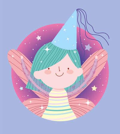 cute little fairy princess tale cartoon with hat vector illustration Vector Illustration