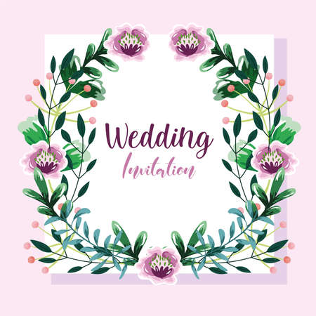 wedding invitation, wreath with flowers and leaves floral template vector illustration Vetores