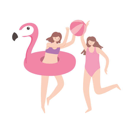 summer time vacation tourism girls with beach ball and flamingo float vector illustration