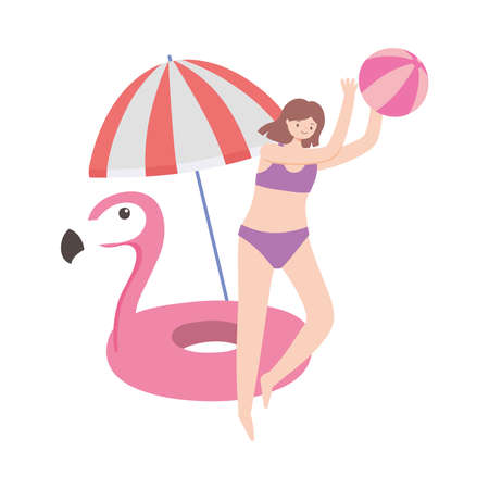 summer time vacation tourist girls playing with umbrella and flamingo float vector illustration Ilustracja