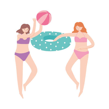 summer time vacation tourism girls playing with beach ball and float vector illustration Ilustracja