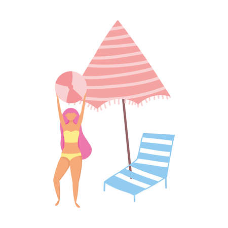 people summer related design, girl with ball umbrella and deck chair vector illustration