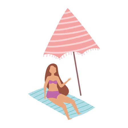 people summer related design, woman relaxing in towel with umnbrella vector illustration Ilustracja