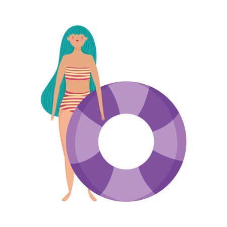 people summer related design, beautiful woman with swimsuit and float vector illustration