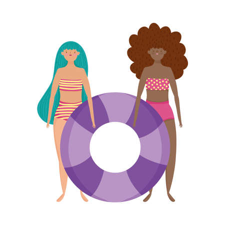 people summer related design, young women with swimsuits and inflatable float cartoon vector illustration
