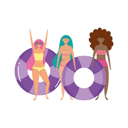 people summer related design, group women with swimsuit and floats isolated icon vector illustration