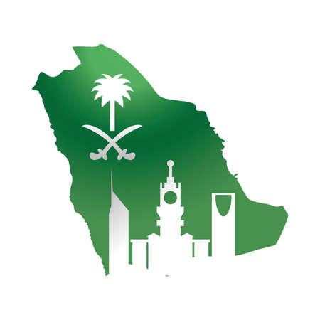 saudi arabia national day, green flag map and city gradient style icon vector illustration Vektorgrafik