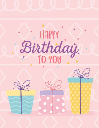 happy birthday, decorative gift boxes surprises festive celebration party vector illustration Illustration