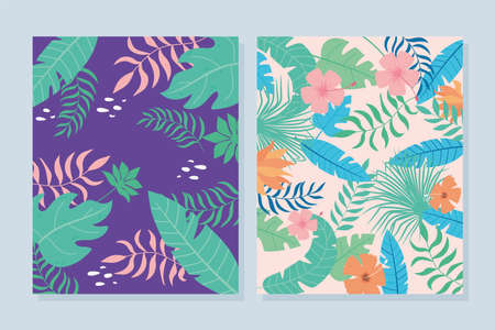 tropical leaves banner with exotic palm plants flowers and leaves vector illustration