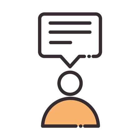 social media avatar speech bubble talk digital internet network communicate technology line and fill design icon vector illustration
