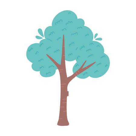 greenery tree foliage botanical cartoon isolated icon design vector illustration Illustration