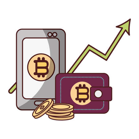bitcoin smartphone wallet arrow up cryptocurrency transaction digital money vector illustration Vectores