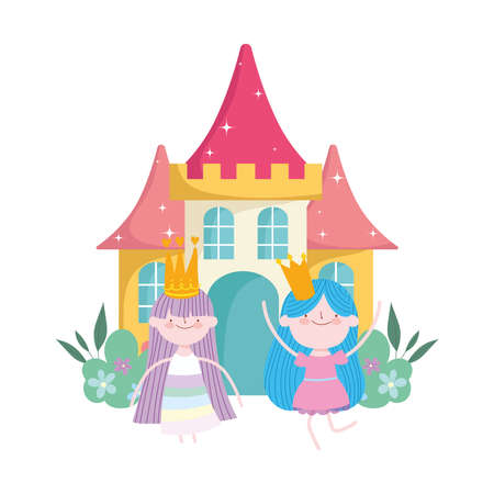 happy cute little fairies princess with crowns and castle tale cartoon vector illustration