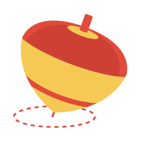 spinning top toy object for small children to play, flat style cartoon vector illustration