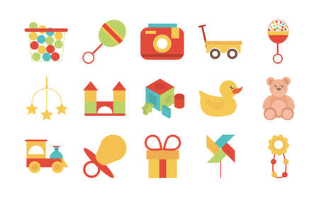 toy object for small children to play, flat style cartoon icons set vector illustration