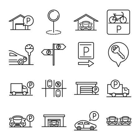 parking transport business line style icons set design vector illustration