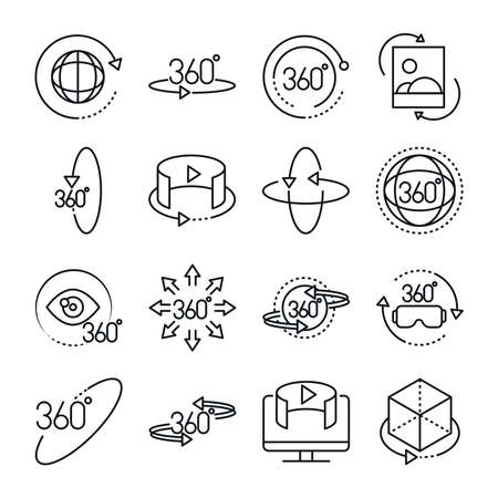360 degree view virtual tour image panorama linear style icons set design vector illustration