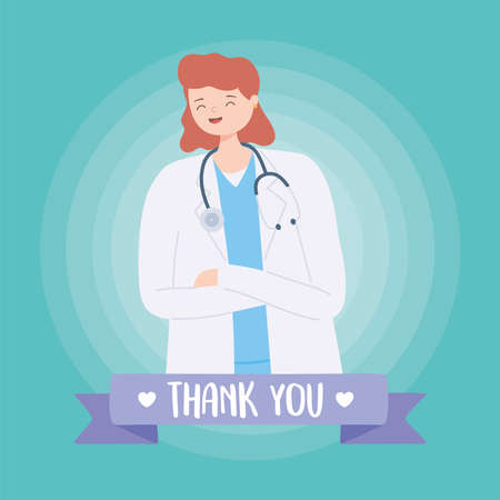 thank you doctors and nurses, female physician with coat and stethoscope vector illustration