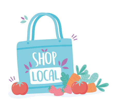 support local business, shop small market eco bag with fruits and vegetables vector illustration