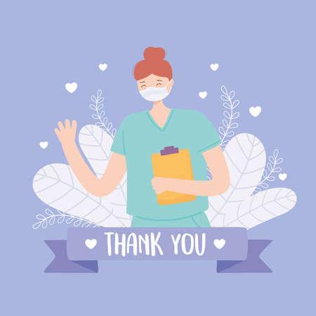 thank you doctors and nurses, professional nurse with medical mask and clipboard vector illustration Vektorgrafik