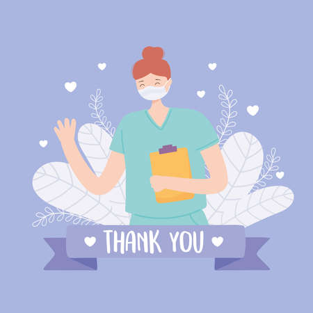 thank you doctors and nurses, professional nurse with medical mask and clipboard vector illustration Vektorové ilustrace