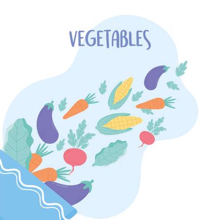 fresh vegetables ingredients falling into the salad bowl vector illustration