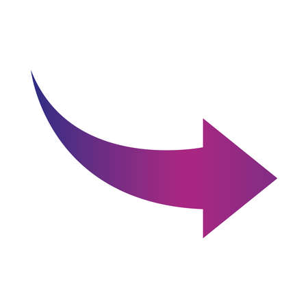 arrow indicates the direction curved gradient style icon vector illustration