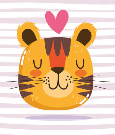 cute cartoon animal adorable wild character tiger heart striped background vector illustration