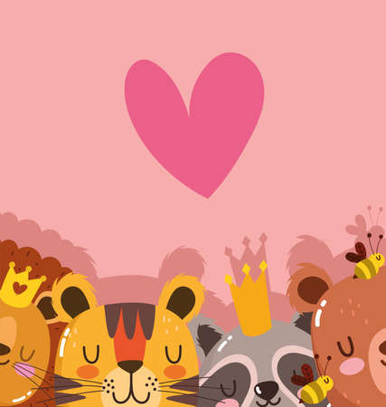 cute cartoon animals adorable wild character raccoon bear lion and tiger with heart crown vector illustration